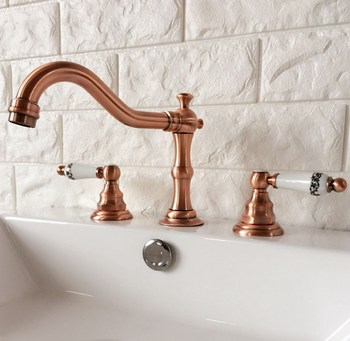 Antique Red Copper Brass Deck Mounted Dual Ceramic Handles Widespread Bathroom 3 Holes Basin Faucet Mixer Taps mrg042
