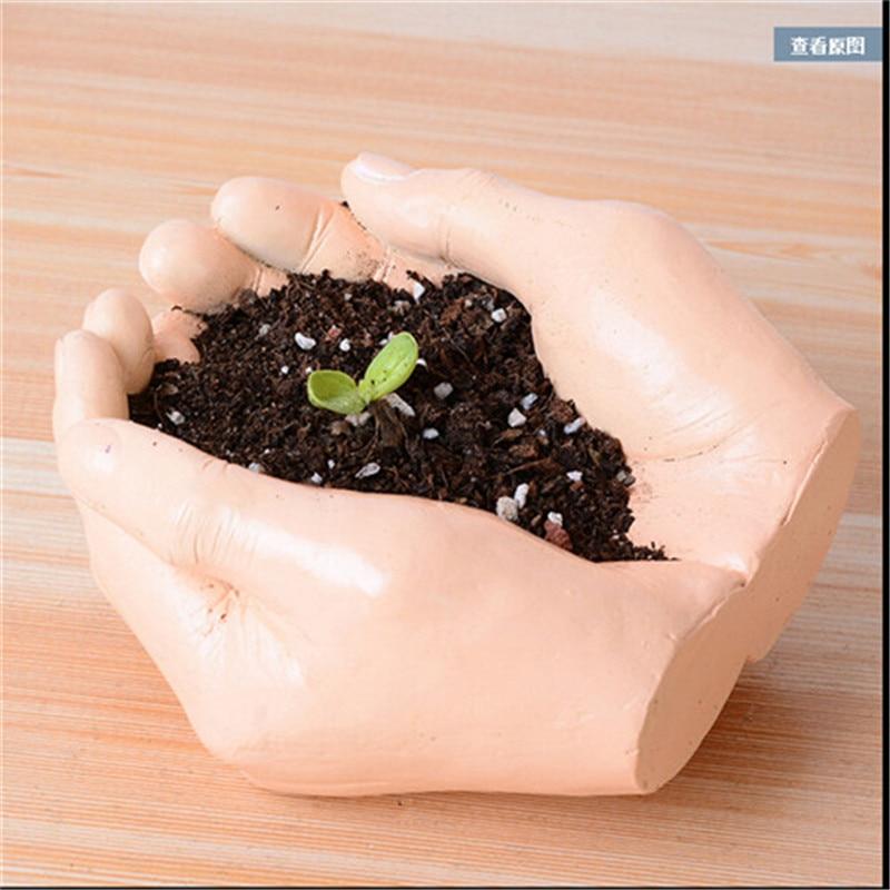 Creative Resin Planter Flowerpot Kawaii Hand palms Garden Succulent Plants Jardin Bonsai Desk Flower Pot