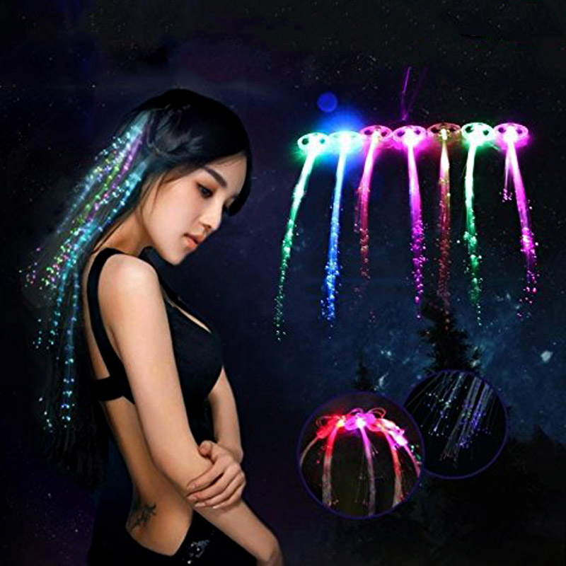 Colorful LED Glowing Flash Wigs Hair Braided Clip Hairpin Show New Year Party Christmas Decor Supplies Hot Sale