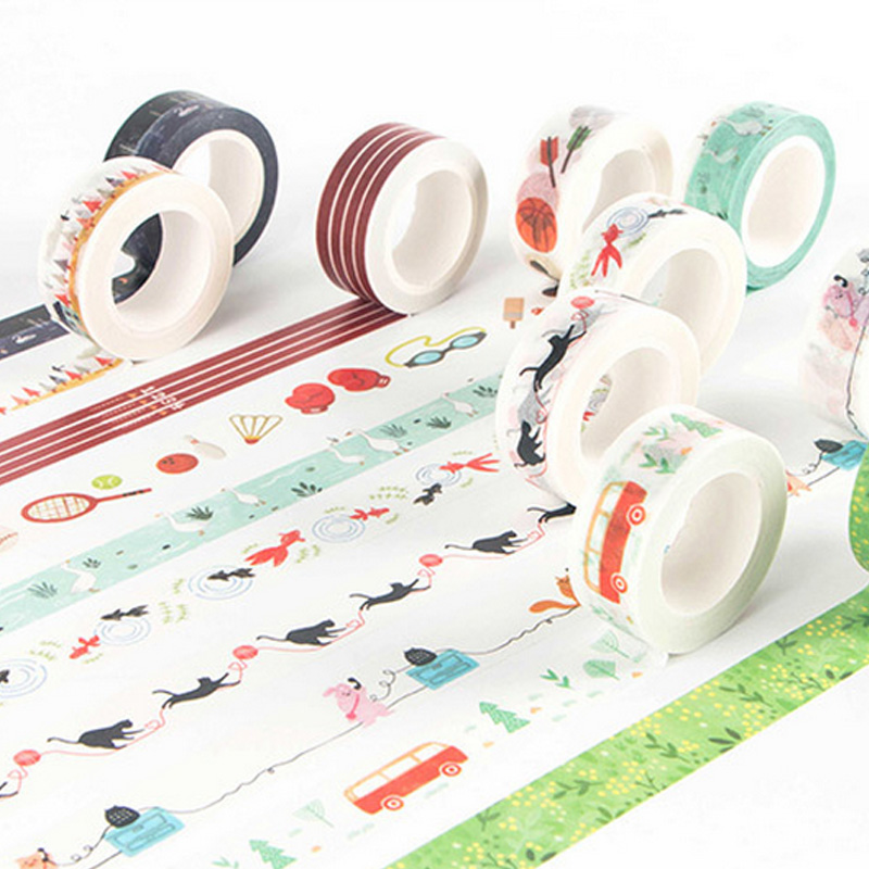 1.5cm*7m Multi-style Decoration Washi Tape DIY Scrapbooking Planner Masking Tape Adhesive Tape Label Sticker Stationery
