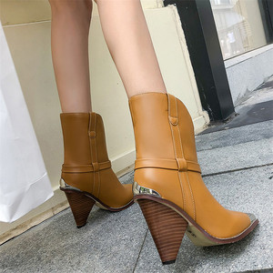 Image 5 - FEDONAS Women Brand Midcalf Boots Sexy Pointed Toe Autumn Winter Metal Toe Party Dancing Shoes Woman High Genuine Leather Boots