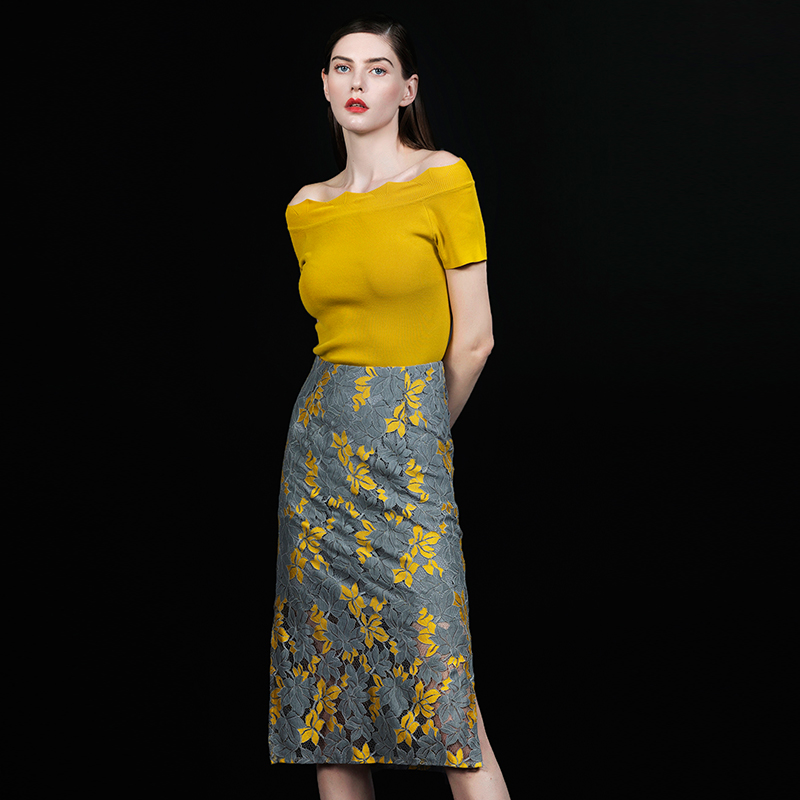 Sexy Nuovo Eleganza Set 2019 Casual Del Yellow Per Regular lunghezza pink Corto Stampa Floreale Knee Neck La Set Caldo Pannello Slash Bqueen Di Modo Esterno Signora w1XO5q5