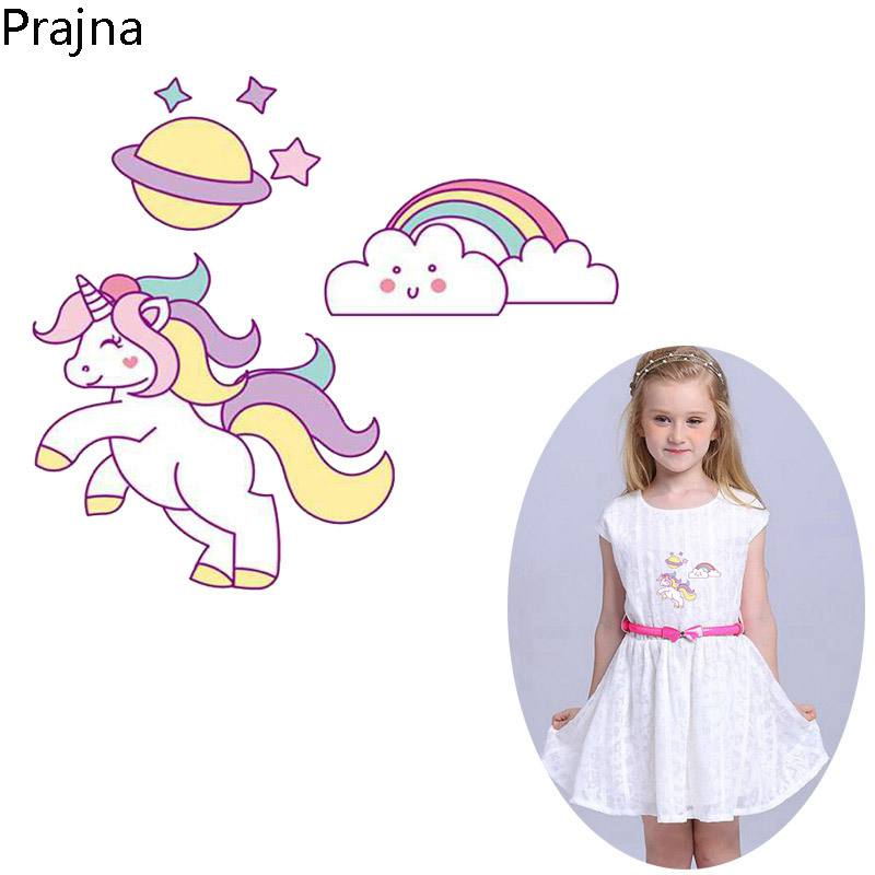 US $0 95 45% OFF|Prajna Rainbow Space Unicorn Iron on Transfers For  Clothing T Shirt Kids Vinyl Hot Heat Transfer Stickers Applique Rainbow  Patch-in