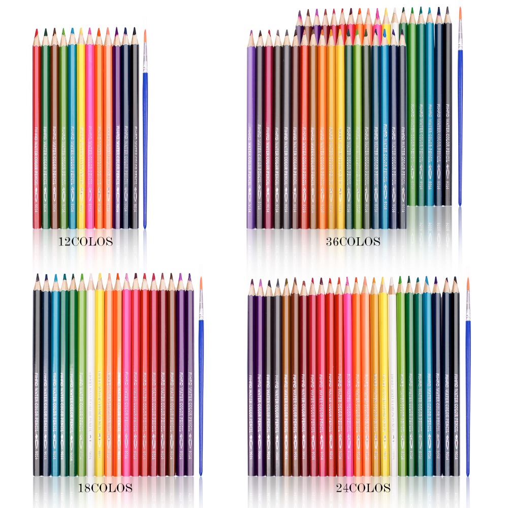 Professional 12 18 24 36 48 colors wood color pencils water soluble watercolor pencils colored pencil for school supplies