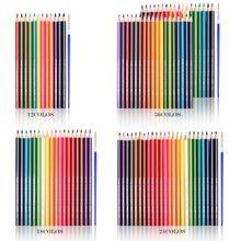 Profesjonalne 12 18 24 36 48 kolorów kredki do drewna rozpuszczalne w wodzie kredki akwarelowe kredki do przyborów szkolnych
