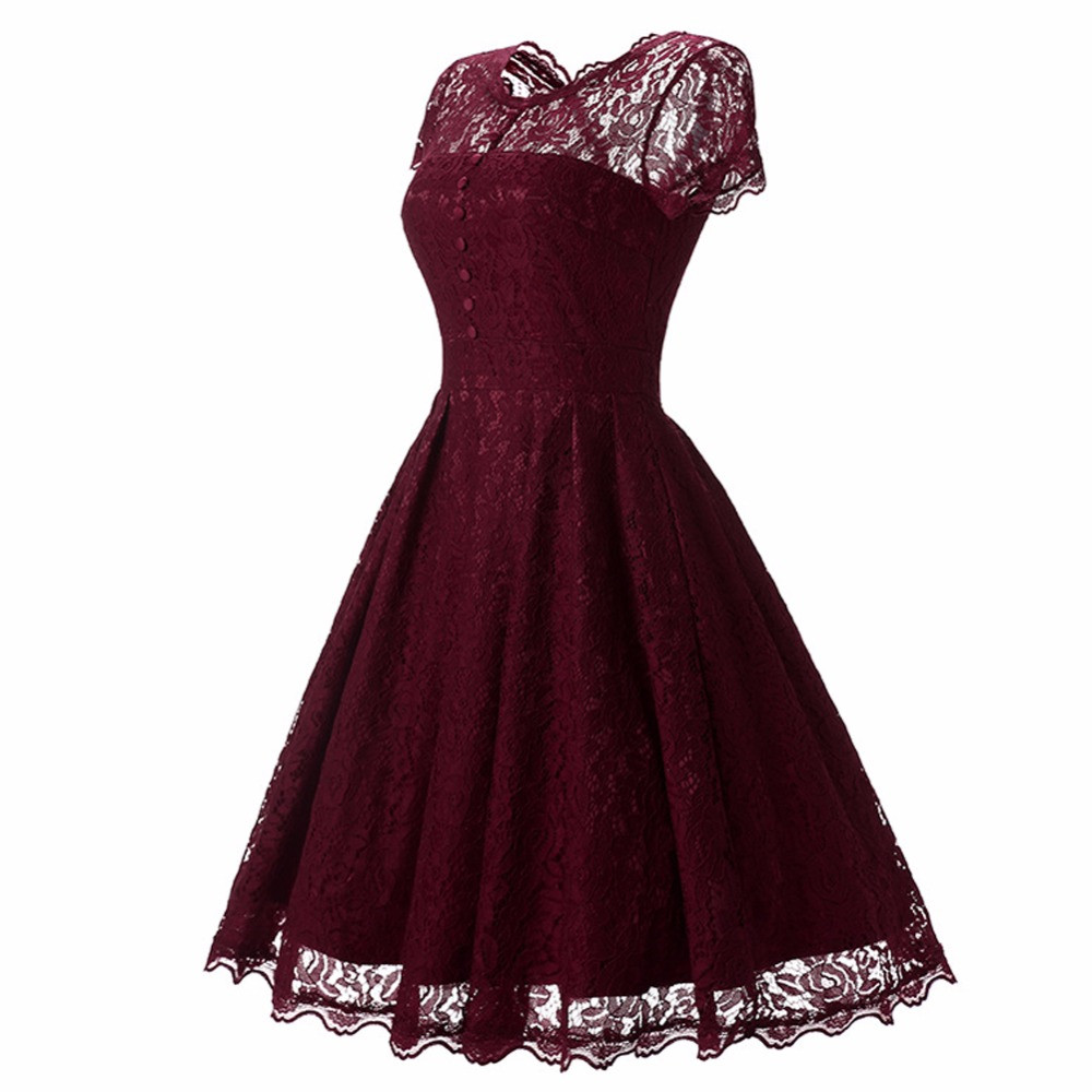 Hot Sale Womens Summer Lace Dress 2018 Vintage O Neck Slim Sexy Pin up Rockabilly Vestidos Party Black Lace Dresses
