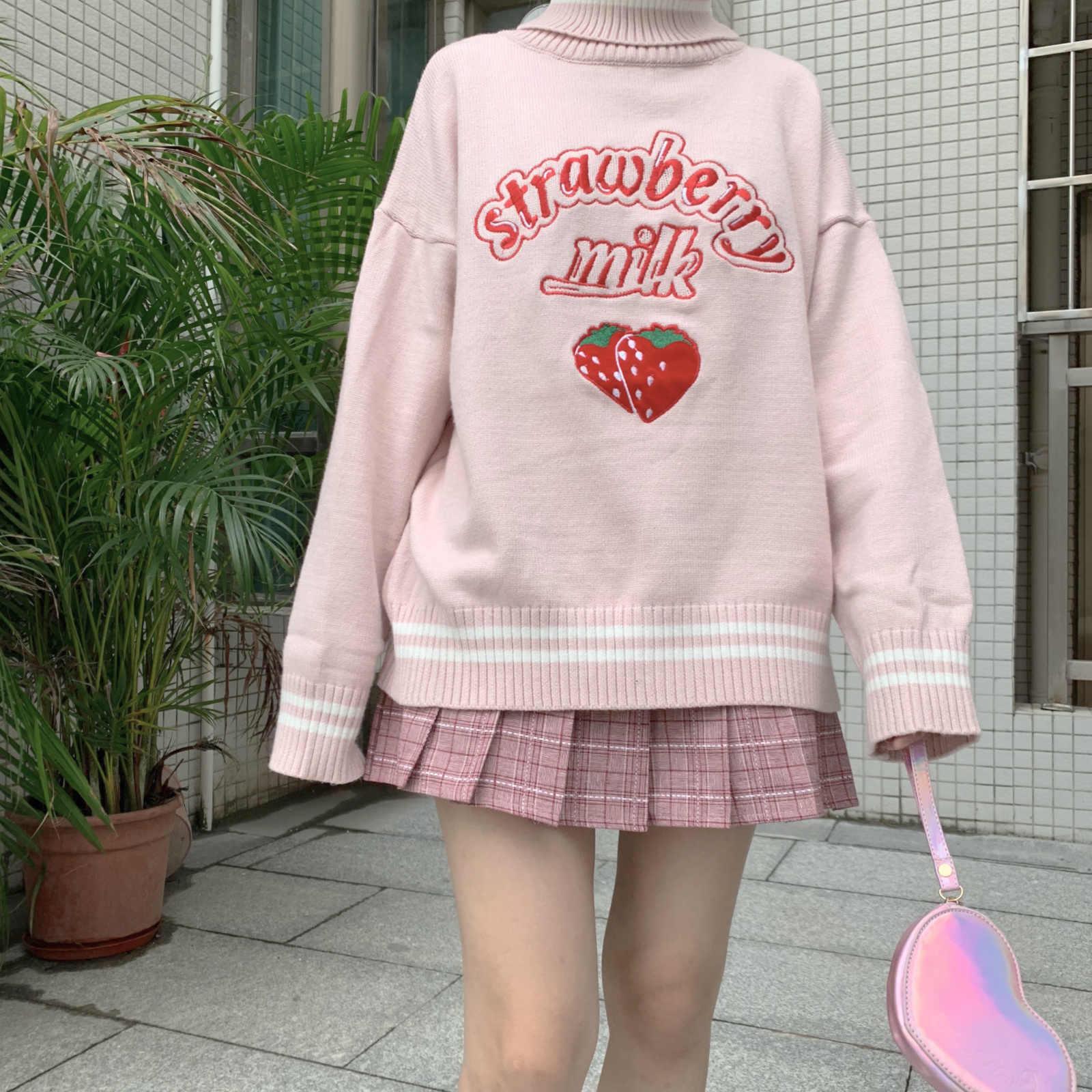 ae5ba490f89 Japanese Women Vintage Sweater Turtleneck Cute Strawberry Milk Knitted  Pullovers Harajuku Teen Girl Pink Kawaii Jumper Clothing
