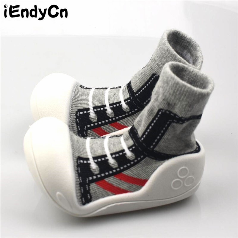 iEndyCn Baby Socks with Rubber Soles Floor Sock Anti Slip with Children Kids 1 Pair 0-2 Years Old HJS7053R