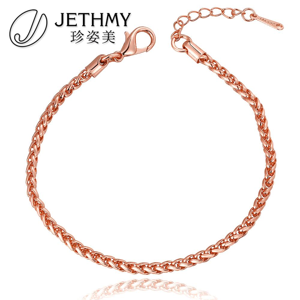 Jewelry New Fashion Figaro Chain Bracelets Rose Gold Top Quality Plated Bracelet for Women