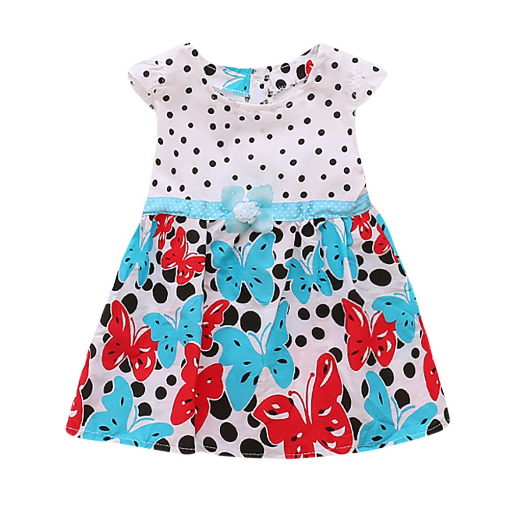 Summer Fashion Newborn Toddler Baby Girls Dot Butterfly Print Flower Casual Sleveeless Dress Wholesale Free Ship Z4