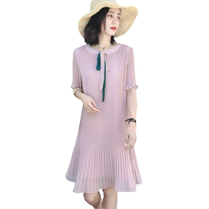 Pregnancy Dress Summer Plus Size Pleated Chiffon Dresses for Pregnant Women Maternity Cute Elegant Korean Fashion Slim Clothes