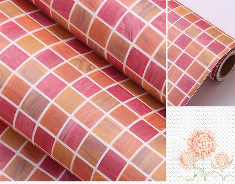 Pvc Behang Keuken : 0.45 m * 1 m rode zelfklevende behang pvc stickers keuken mozaïek