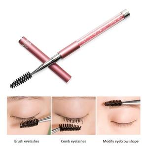 Image 2 - Pinceaux à cils de maquillage 10 couleurs pinceaux à poignée diamantée applicateur de Mascara brosses à baguette pinceau à cils strass outil de maquillage