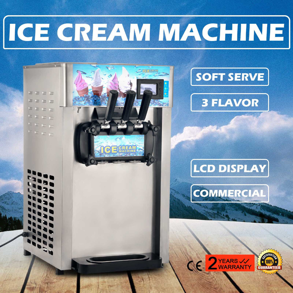 Free Ship To US Frozen Soft Serve Ice Cream Maker Machine Mix Flavors 3 Head 18L/H 4.75Gal/H