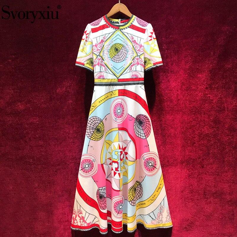Svoryxiu Vintage de fiesta de verano de las mujeres Maxi vestido manga corta de alta calidad impresión Slim elegante-in Vestidos from Ropa de mujer    1