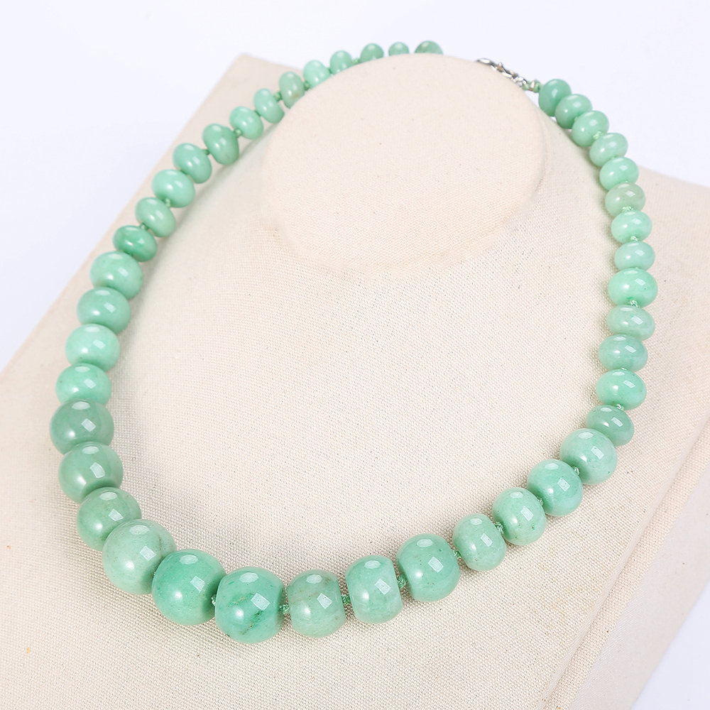 Natural Aventurine Jade Women Long Pearl Necklace Charm Big Chain Stone Vintage AAA Crystal Classic Exquisite Fine Jewelry Reiki
