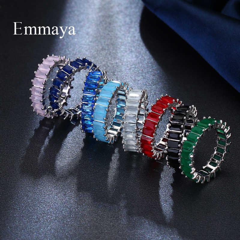 EMMAYA כסף צבע ייחודי עיצוב CZ טבעת סלול האוסטרי זירקון אופנה נשים טבעת תכשיטים
