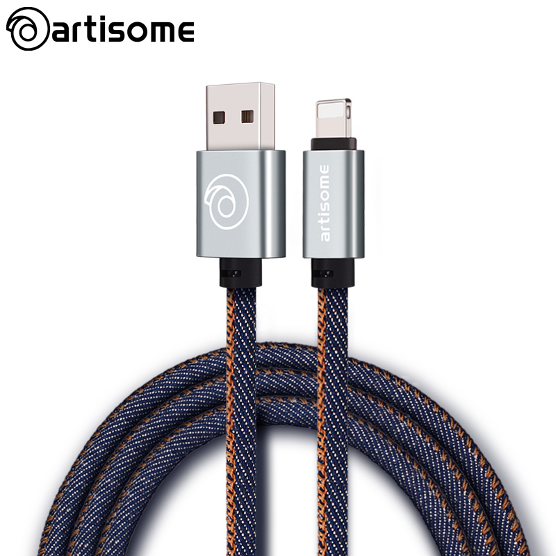 100CM Jean Cloth USB Cable For iPhone 5S 5 5C SE 6 6S 6 Plus 6S Plus 7 7 Plus Mobile Phone Data Line Fast Charging Charger Cable