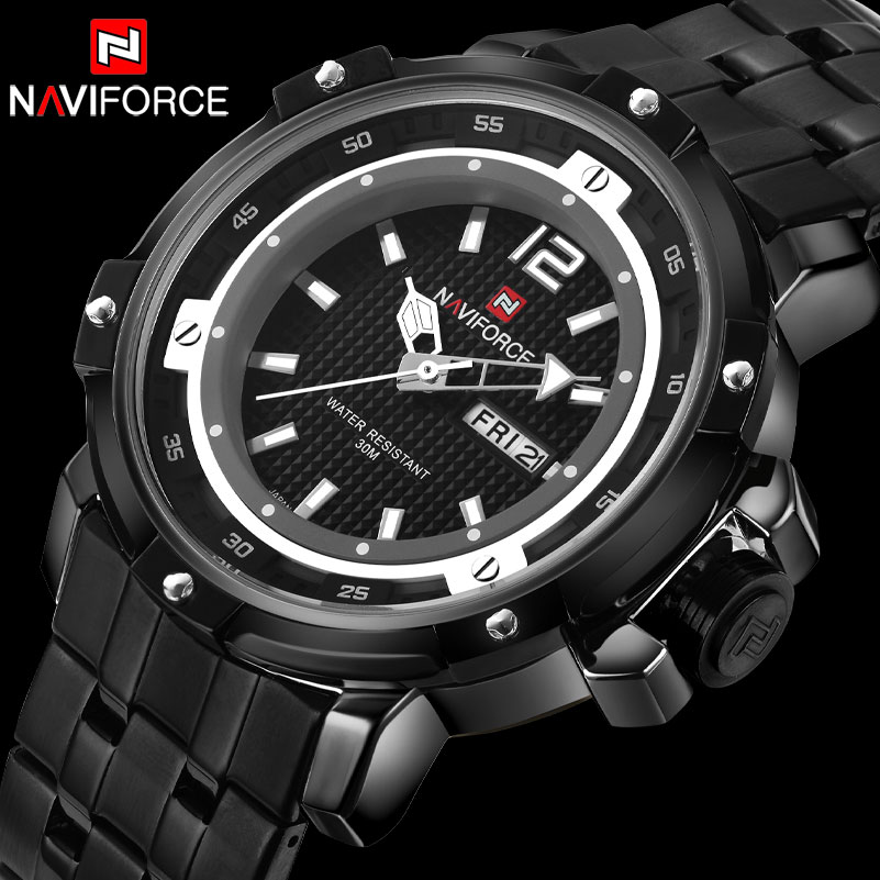 2017 NAVIFORCE Top Brand Mens Wristwatches Black Steel Analog Quartz-Watch Men Waterproof Sport Watches Relogio Masculino 2016 new hot sale brand magic star black white analog quartz bracelet watch wristwatches for women girls men lovers op001