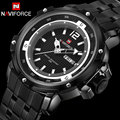 Men sport Watches NAVIFORCE brand men's quartz watch full steel band wristwatches for men 30M waterproof white relogio masculino