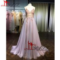 Newest 2019 Lovely Gown Crystal Straps Sexy Spaghetti Straps Formal Prom Dress Cute A line Tulle Pink Evening Gown Sleeveless