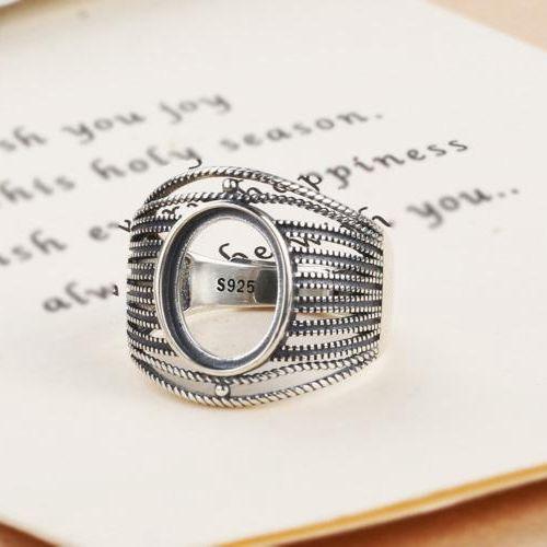 Argent Sterling 925 bague de fiançailles mariage anniversaire Semi monture 10x13mm ovale Cabochon bijoux fins réglage rétro Vintage