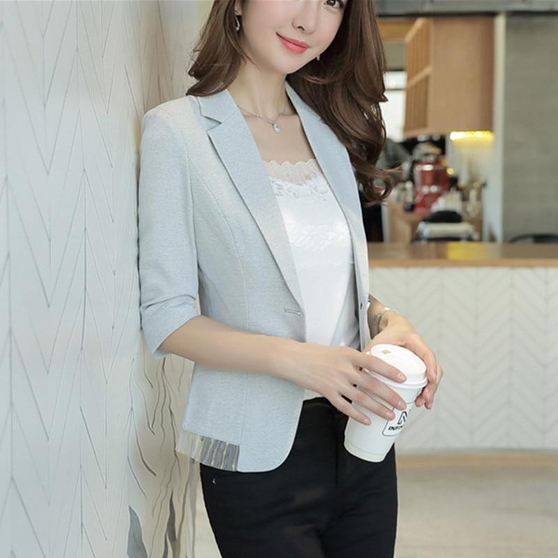 Brief Linen Suit Woman 2019 Spring Summer 3 Quarter Sleeve OL Blazer Office Lady Jacket Patchwork Tassel
