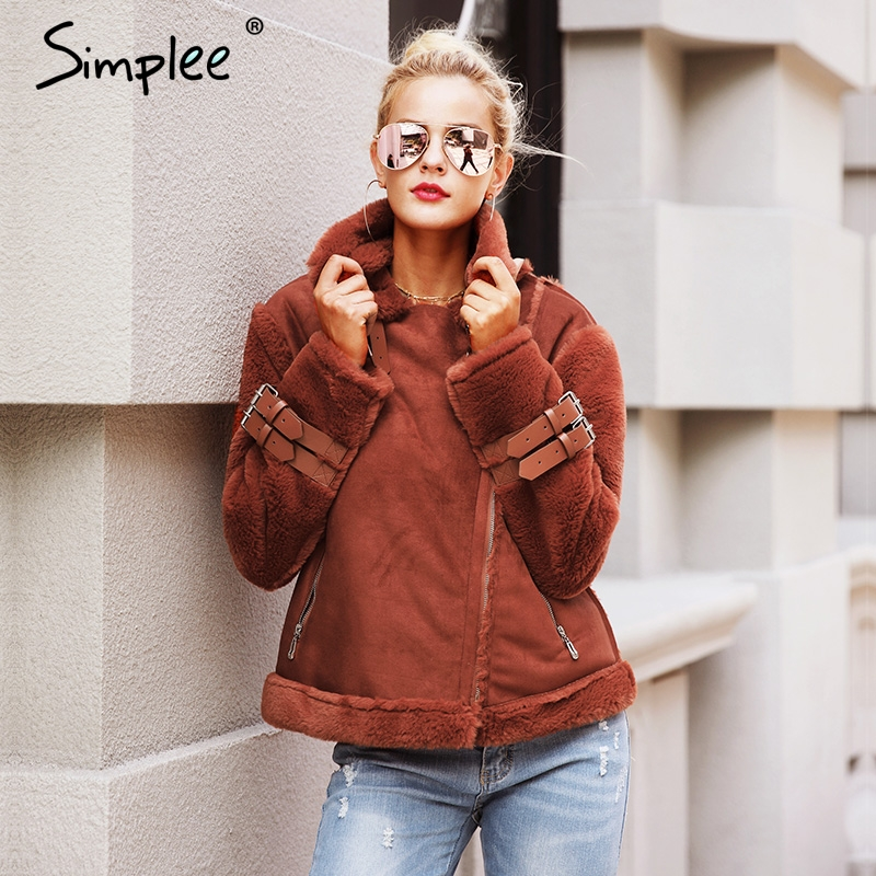 Simplee Faux leather suede lamb fur jacket coat women Moto zipper suede jacket female overcoat Casual turn-down winter coat 2017