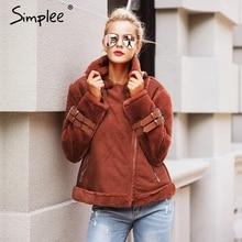 Здесь можно купить  Simplee Faux leather suede lamb fur jacket coat women Moto zipper suede jacket female overcoat Casual turn-down winter coat 2017