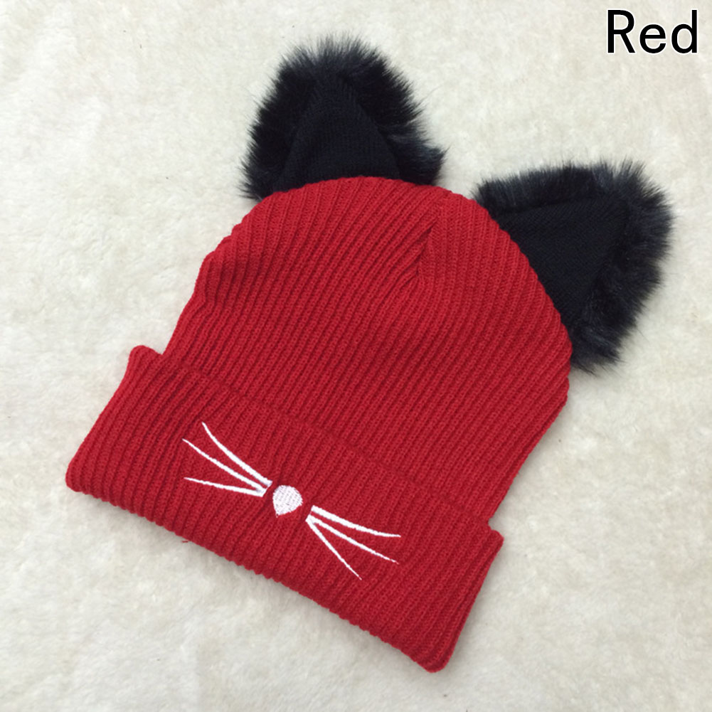 Warm Winter Hat For Women  Wool Knitted Womens Cat Ears Faux Mink Hats Skullies Fur Pompom Caps Female Beanies Bonnet Femme