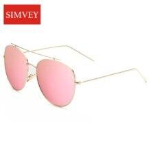 Simvey 2017 Fashion Vintage Aviaton Women Sunglasses Rose Gold Mirrored Lens Metal Frame Double Bridge Sun Glasses Shades UV400