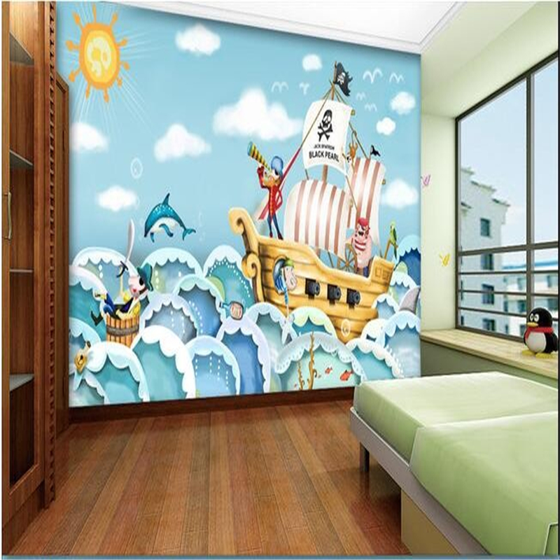 Cartoon pirate ship promotion shop for promotional cartoon for Cartoon mural wallpaper