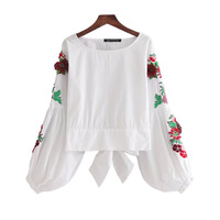 Topshop Bow Embroidery White Shirts Women Clothing 2017 Spring Autumn Fashion High Street Long Sleeve Ladies