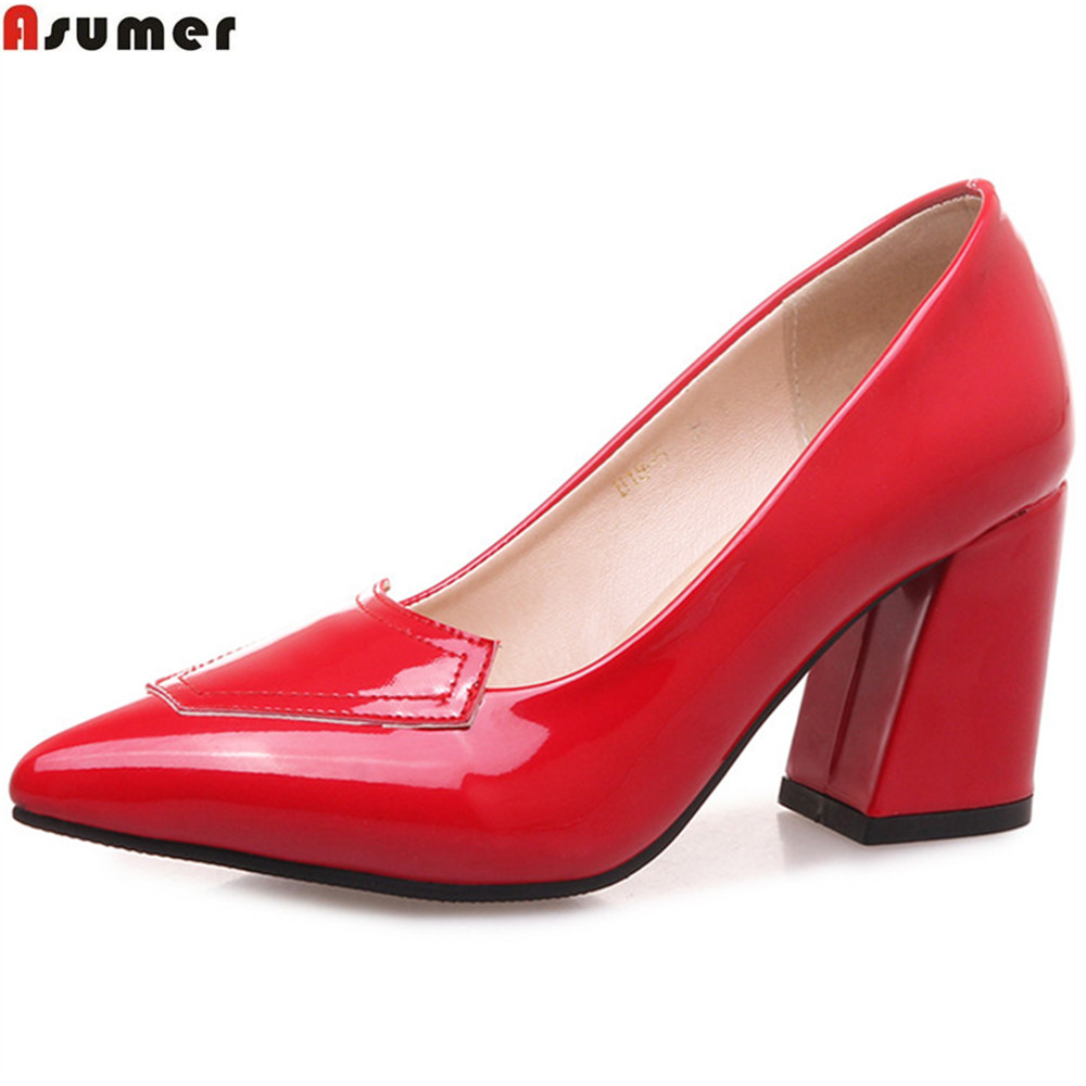 ASUMER Red Beige Black Pointed Toe Shallow Elegant Ladies Pumps Square Heel Wedding Shoes Women High Heels Shoes Big Size 32-46