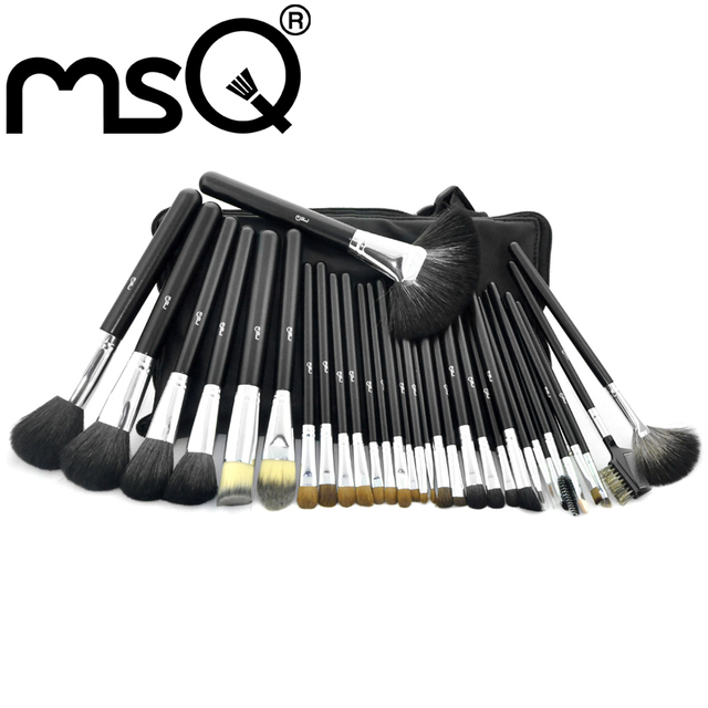 Atacado 20 pçs/lote Cabelo Sable MSQ Professional 32 pcs Pincéis de Maquiagem Conjunto Com o Saco De Couro Preto