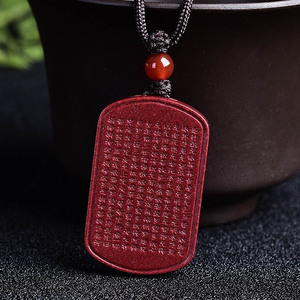 Image 4 - Drop Shipping Natural Cinnabar Lotus Buddhist Scriptures Pendant Necklace Lucky Amulet Jade Necklace For Woman Men Fine Jewelry