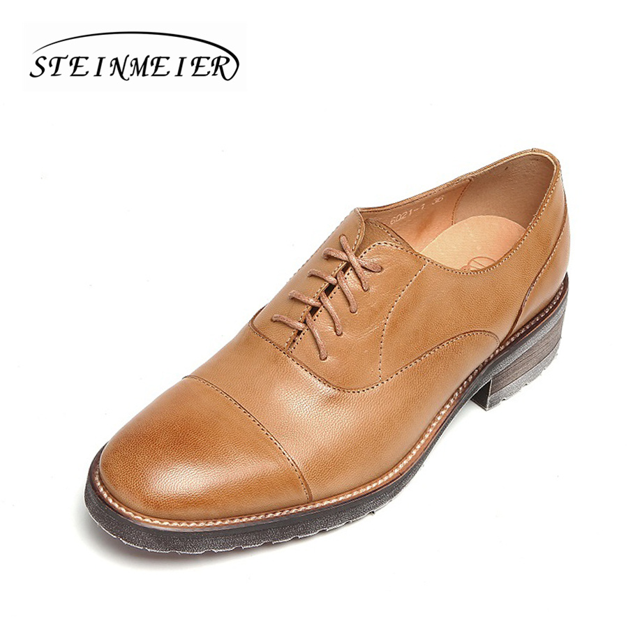 Women Quality Flats shoes Genuine Leather oxford Lace-up Shoes brown For Spring Autumn Handmade Footwear woman Casual Wear Shoes lovexss oxford shoes 2017 spring autumn toe lace up white woman flats genuine leather derby shoes women big size 33 42 oxfords