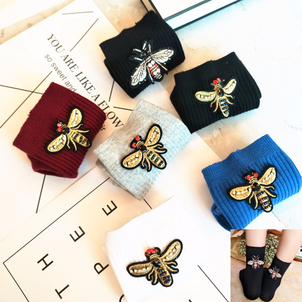 1 Pair New Design Bee Queen King Laides Socks Women Autumn Winter Cute Bee Cartoon Fashion Casual Socks Female Cotton Funny Sock ...