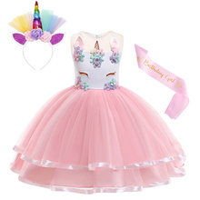 AmzBarley Girls Rainbow Unicorn Princess Dress Ball Gown kids floral Party outfits Toddler girls Lace Tutu dress Cosplay Costume