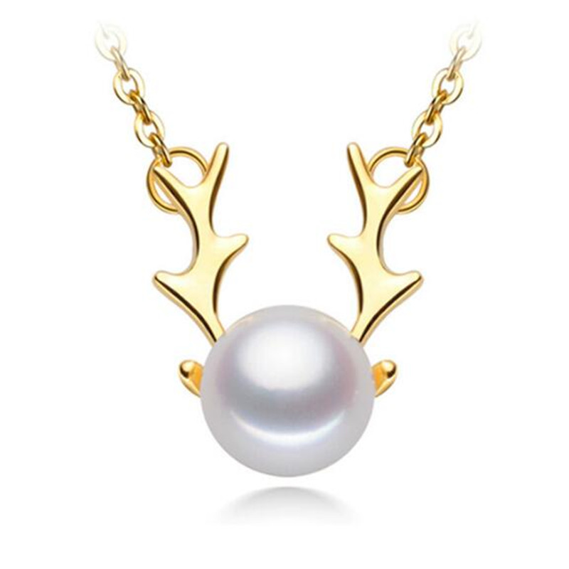 18K Yellow Gold Natural Cultured Freshwater Pearl Cute Deer Pearl Necklace Pendant Women Chain Link Christmas Deer Gift in Necklaces from Jewelry Accessories