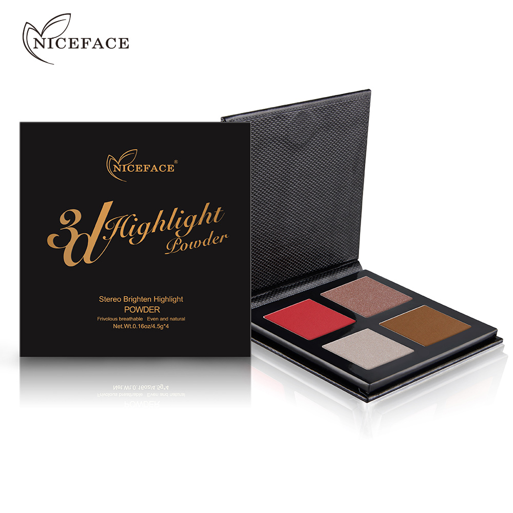 NICEFACE 4Colors Shine Shimmer Bronzer Powder Palette Makeup Face Brighten Oil-control B ...