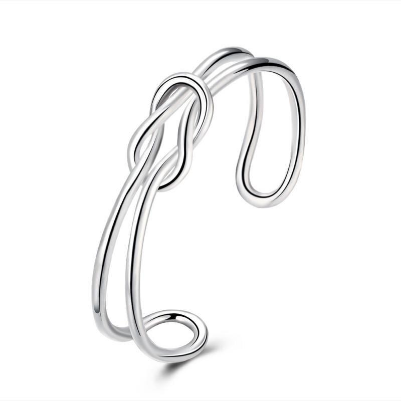 High Polish Irregular Bracelet Silver Plated Elegant Knot Bangle bracelet Fashion Cuff Bracelet Bangle for Women Lady's Gift