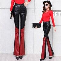 Spodnie skórzane Spodnie Zimowe Sexy Kobiety Czarny Skórzany Czerwony Patchwork Zipper Stretch Plisowane Punk Rock Kobiety Pochodni Spodnie MK0030