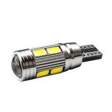 CANBUS T10 W5W de alta calidad, sin ERROR, 10 SMD, 5630 LED, lámpara de cuña, luz de aparcamiento de coche, 10SMD, 5730 LED, bombilla de lectura para Interior de coche