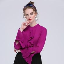 Здесь можно купить   High Quality Women Celebrity Runway Long Puff Sleeve Solid Color Soft Fabric Slim Chiffon Shirts Purple Red Blouse Tops S-5XL Women