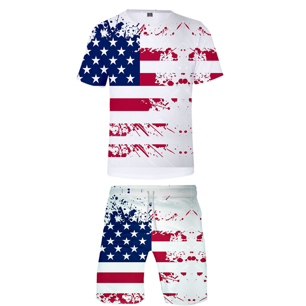 2019 Men's Set US Independence Day 3D Print Tshirt And Beach Shorts Set Summer Sets High Quality Clothes
