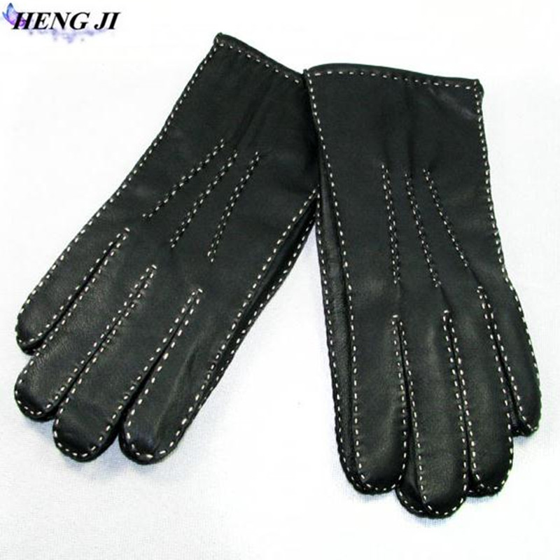 2017 new, sheep leather <font><b>gloves</b></font>, hand-sewn, thin, winter warm wool inside, <font><b>men</b></font> and women general, high quality, free shipping