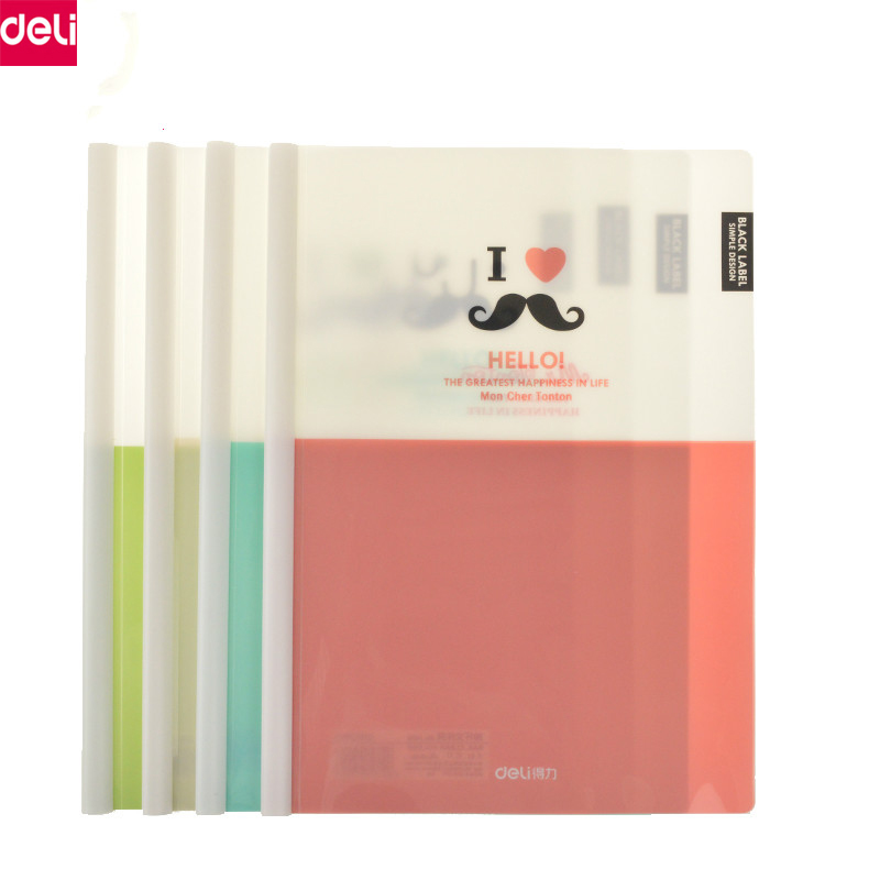 Deli A4 Size File Bag File Folder Documents Report Cover Folder Kawaii Cute Paper Folder Office School Supplies (5pcs/Set ) candy color clipboards a4 notes folder write sub plate wordpad stationery clip file paper file folder holder school supplies