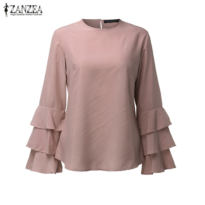 HTB1csYjOVXXXXbuXFXXq6xXFXXXx - Women Blouses Shirt Elegant Ladies O Neck Long Flare Sleeve