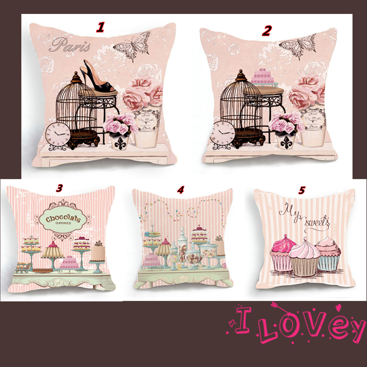 Cushion Cover Vintage Flower Pillow Case Pink Flower High Heels Wintersweet Cherry Blossom Home Decorative Throw Pillow Cover